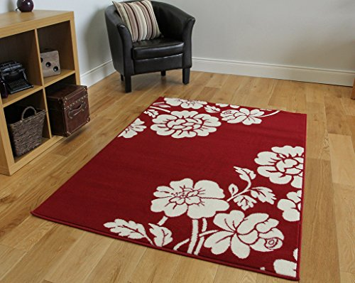 Milan Soft Touch Red Floral Fireplace Rug 1915-R55 - 2'6