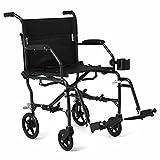 "Medline Ultralight Transport Chair, 19"" Wide Seat, Permanent Desk-Length Arms, Swing Away Footrests, Black Frame"