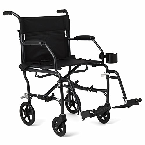 "Medline Ultralight Transport Wheelchair with 19"" Wide Seat, Folding Transport Chair with Permanent Desk-Length Arms, Black Frame"