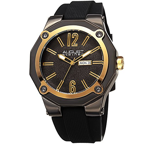 August Steiner Men's Quartz Stainless Steel and Leather Casual Watch, Color:Black (Model: AS8232GNG) ()