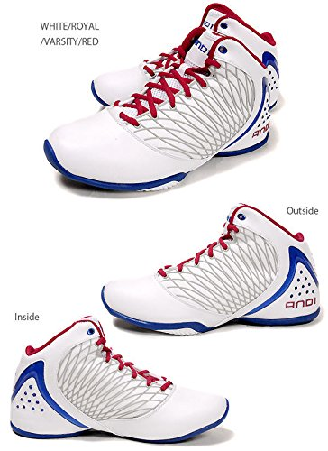 AND1 ORBIT MID BASKETBALL SNEAKER MEN SHOES WHITE/RED/BLUE 321674 SIZE 12.5 NEW