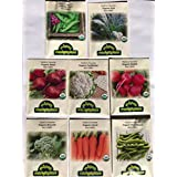 CERTIFIED ORGANIC NON-GMO PREMIUM WINTER VEGETABLE GARDEN SEED COLLECTION. Heirloom seeds USDA Lab tested. Broccoli, Beet, Carrot, Cauliflower, Fava Bean, Kale, Pea, Radish. Gardener & chef favorites!