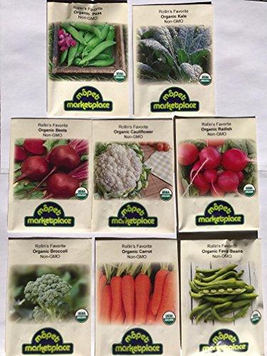 Premium Winter Vegetable Seeds Collection.Certified Organic Non-GMO Heirloom Seeds USDA Lab Tested. Broccoli, Beet, Carrot, Cauliflower, Fava Bean, Kale, Pea, Radish. Gardener & Chef (Certified Organic Vegetable Seeds)
