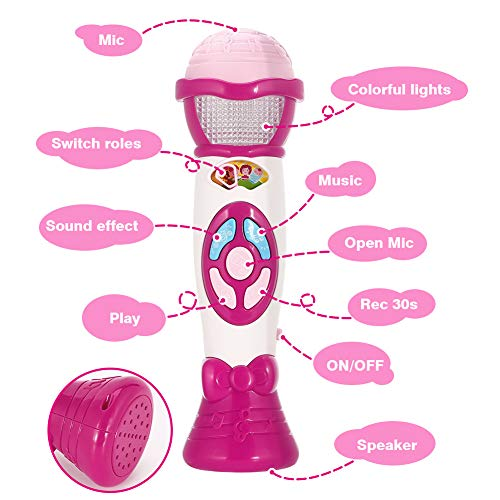 FunsLane Kids Voice Changer Microphone Toy Karaoke Machine For Toddler With Recording, Play Music Function, Colorful Lights, Party Favor Toy Great Birthday Holiday Gift for Girls Boys, Pink by FunsLane (Image #2)