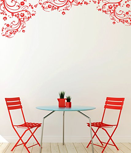Red Color Swirl Flower Floral Decal Design. Edge Wall Decal. (100in X 29in) #262A
