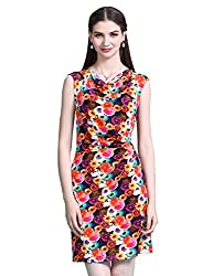 Maxchic Women's Cowl Neck Sleeveless Gathered Waist Floral Print Dress X11584Y14M,Orange,Medium