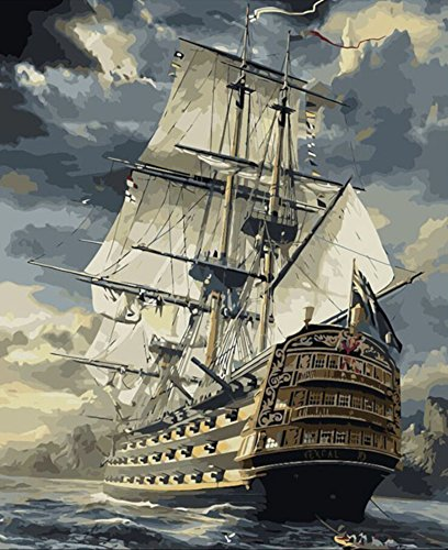 Paint by Numbers, Paint by Number DIY Oil Painting Canvas Set with Brush and Acrylic Paint, Paint by Numbers for Kids, Adults and Beginners, 16x20inch[Sailing Ship-KP012]