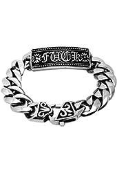 Mens Titanium Steel Enamel Bracelet Link Wrist Silver Black Flower Biker