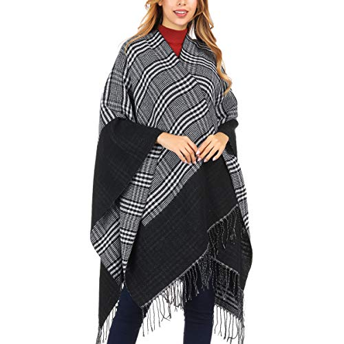 (DoFiyeng Women Poncho Shawl Poncho Cape Cardigan Open Front Elegant Cape Wrap Shawl Wrap(Black white stripes))