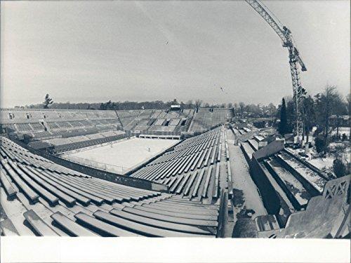 Photo Tennis Building Stadium Bleacher Seats Outside Vintage Historic