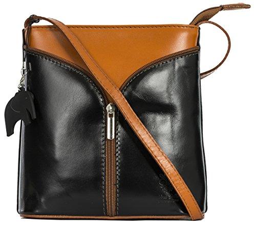 Leather Protective LIATALIA Mini with Alice Bag and Cross Storage Trim Charm Black Tan Body a Shoulder Italian Bag qqz4E