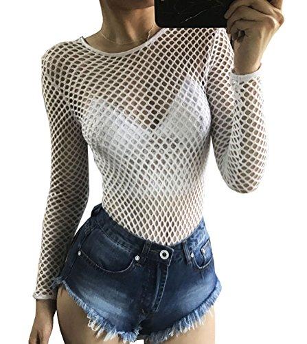 Mesh White Long Sleeve Top (Ebetterr Women's Sexy Long Sleeve Fishnet Mesh Sheer See Through Bodysuit Clubwear Tops White Large)