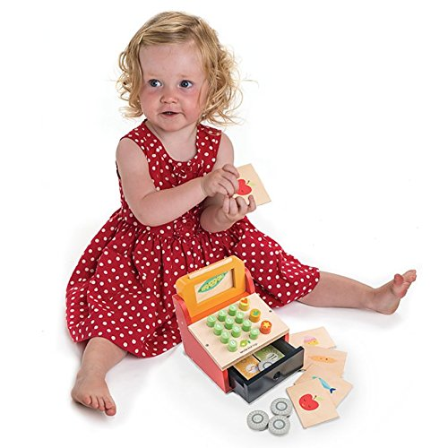 till with money wooden cash register set pretend play grocery