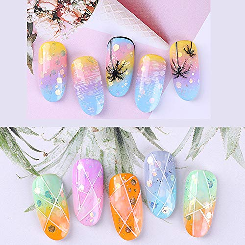Dasaba 8 Boxes Holographic Nail Art Glitter Sequins, Laser Gradient Glitter Powder Size Mixed Nail Art Decoration kits Set for Nail DIY Craft Accessories