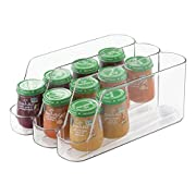 mDesign Stackable Baby Food Dispenser Organizer for Kitchen Pantry, Nursery - Clear
