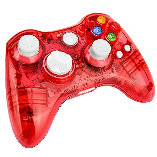 Kycola Xbox 360 Controller GC21 Wireless PC Gamepad LED Controller Transparent Joystick For Xbox 360/PC(Red)