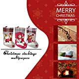 "Christmas Stocking, SMTHOME 18"" Set of 3 Santa, Snowman, Reindeer, Xmas Character 3D Plush with Faux Fur Cuff Christmas Decorations and Party Accessory (Short Hat2)"