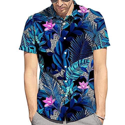 Hawaiian Shirt for Men, Mitiy Flower Leaf Beach Aloha Party Casual Holiday Loose-fit Short Sleeve Blue