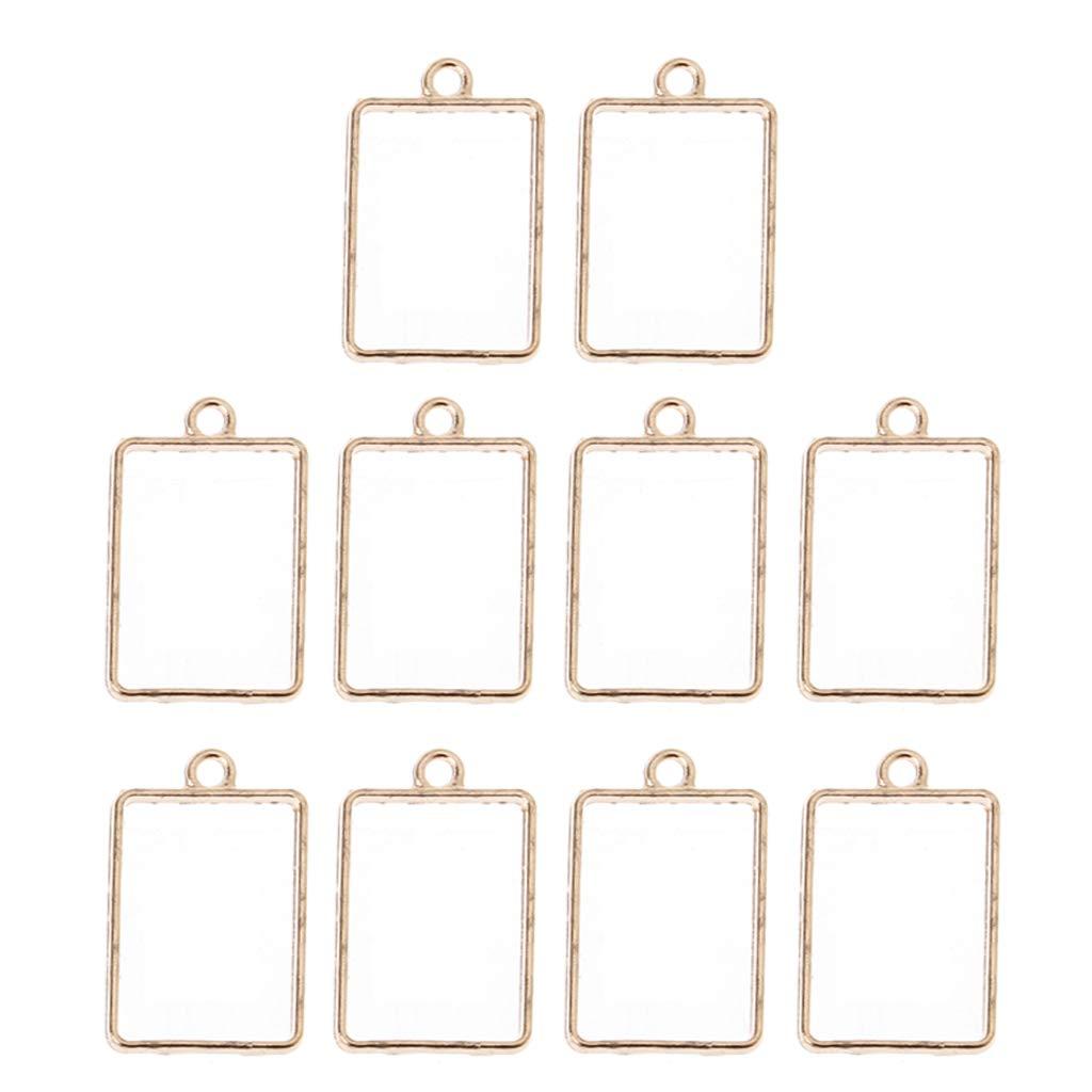 10 piezas geom/étricas huecas cuadradas flor prensada marco colgante de resina para la fabricaci/ón de joyas de resina de bricolaje Bronce, Cuadrado