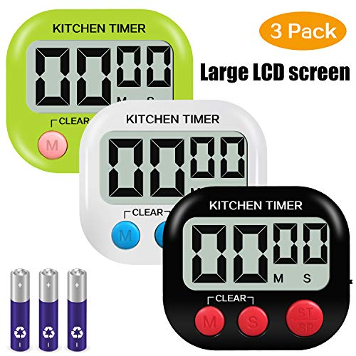 Digital Kitchen Timer, Yuangao 3 pack Cooking Timers, Large LCD Display, Loud Alarm, Magnetic Backing, Easy to Operate For Cooking Baking Sports Facial