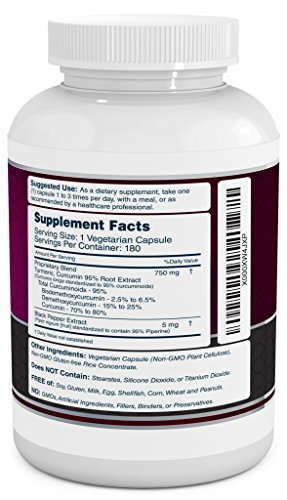 Turmeric Curcumin Complex with Black Pepper Extract - 750mg per Capsule, 180 Veg. Caps - Contains Piperine (For Superior Absorption and Tumeric Bio-availability) and 95% Standardized Curcuminoids - 51Q9AfwFt3L - Turmeric Curcumin Complex with Black Pepper Extract – 750mg per Capsule, 180 Veg. Caps – Contains Piperine (For Superior Absorption and Tumeric Bio-availability) and 95% Standardized Curcuminoids