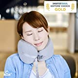 Cushion Lab Extra Dense Travel Pillow, Patented Ergonomic Design for Chin & Neck Support Memory Foam Neck Pillow, Compact Adjustable Airplane Pillow for Traveling, Flight, Car, Train. Inc Travel Bag