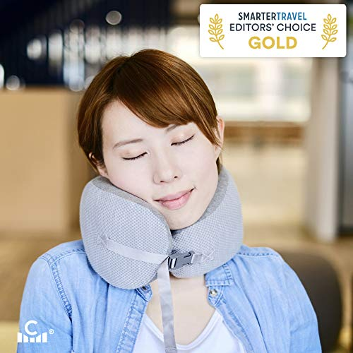 Cushion Lab Extra Neck Support Travel Pillow for Airplane, Award-Winning 3-Point Cradle Design for Head & Chin Support…
