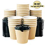 Kitchen & Housewares : Aplusplanet 8 OZ Triple Walled Disposable Coffee Cups with Lids 50 Set, No Sleeves Needed, Ripple Insulated To Go Coffee Cups and Multipurpose Lids for Hot Beverage. Eco-Friendly Reusable Paper Cups