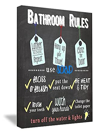 Sticker Perfect Framed Canvas Printed Wall Art Bathroom Rules 16 By 12 Inch
