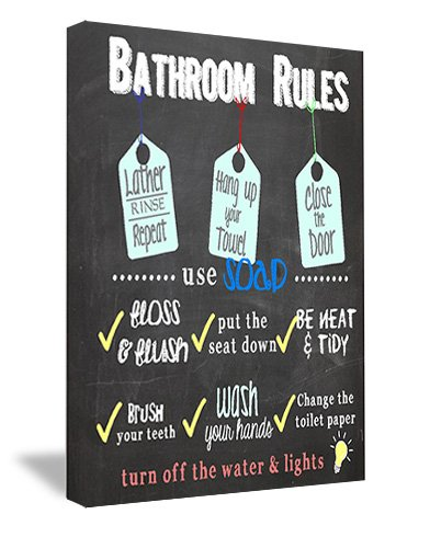 Sticker Perfect Framed Canvas Printed Wall Art Bathroom Rules, 16 By 12 Inch