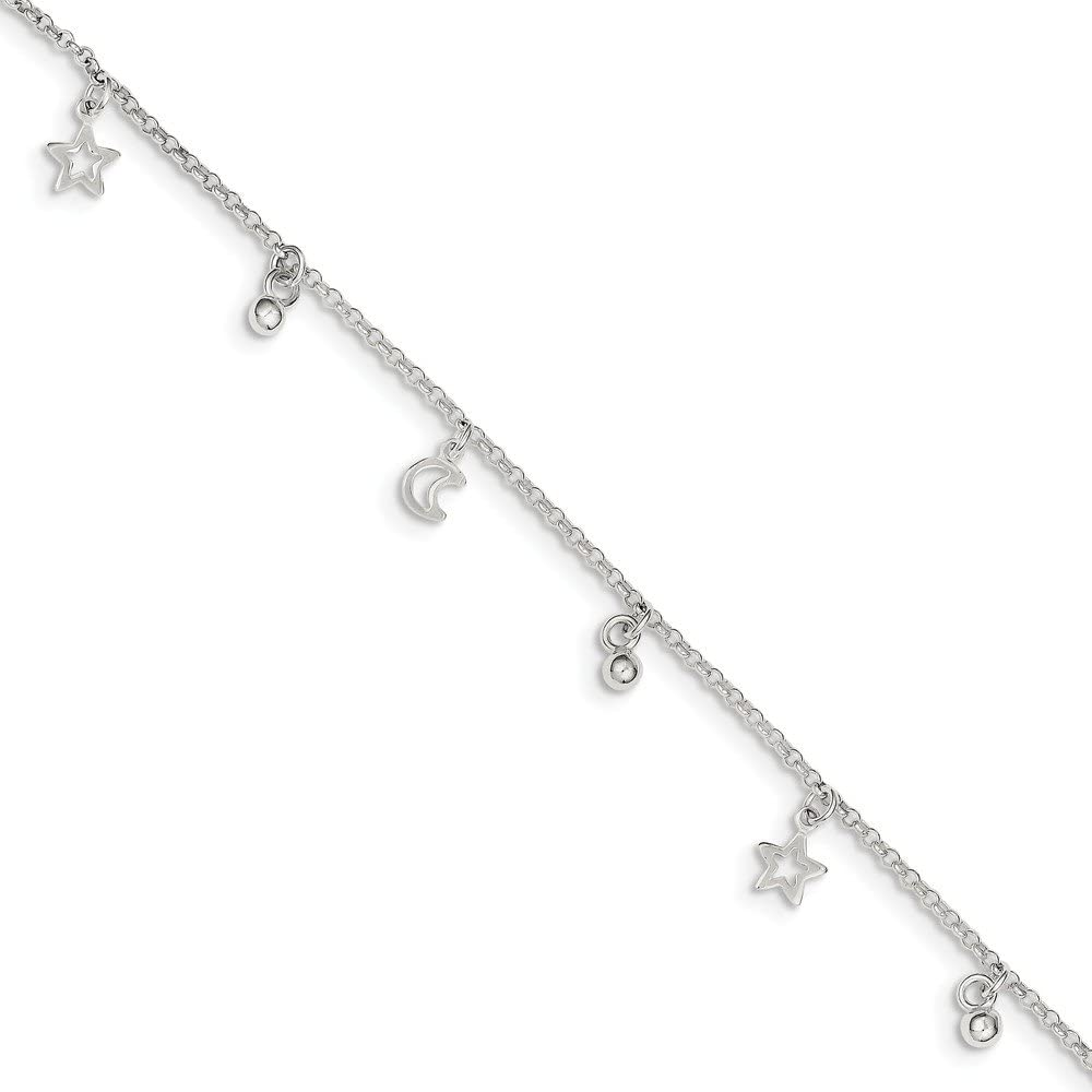 Jewel Tie 925 Sterling Silver Polished Bead Star /& Moon with 1in ext with Secure Lobster Lock Clasp 1.5mm