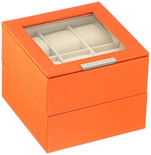WOLF 319639 Stackable Set of 2-6 Piece Watch Trays, Orange