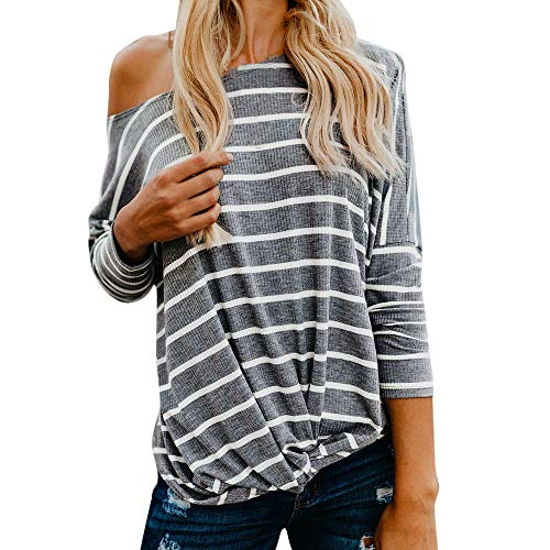 haoricu Women's Long Sleeve Blouse Striped Wrap Knot Twist Front Crop Top Tee T-Shirt Comfy Pullover