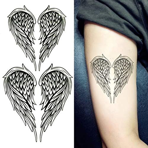 Oottati Small Cute Fake Waterproof Temporary Tattoo Black Angel Feather Wing (2 - Temporary Angel Tattoo