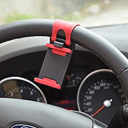 Rienar Mobile Phone Holder Mount Clip Buckle Socket Hands Free on Car Steering Wheel for iPhone 5/5G/ 4/4S,HTC, Samsung…