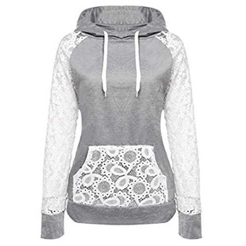 Han Shi Sweatshirt, Womens Sexy Lace Patchwork Pullover Hoodie Coat Outerwear Tops (XXL, Gray)