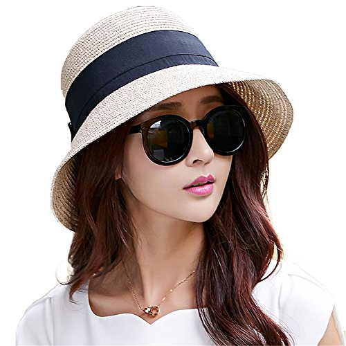 Siggi Womens Floppy Summer Sun Beach Straw Hats Accessories Wide Brim Foldable Beige 59cm/23.2