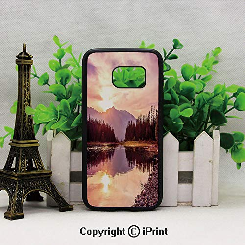 (Grand Teton Mountain Range at Sunset Jackson Lake Calm National Park USA Decorative 2D Printing of Samsung S7 Case Black Soft TPU and PC Protection Anti-Slippery Case For Samsung S7 Peach Light Yellow)