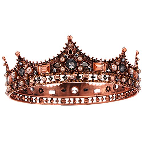 S SNUOY Baroque Full Round Tiara for Brides Rhinestone Queen and King Pageant Crown Wedding Hair Accessories ()
