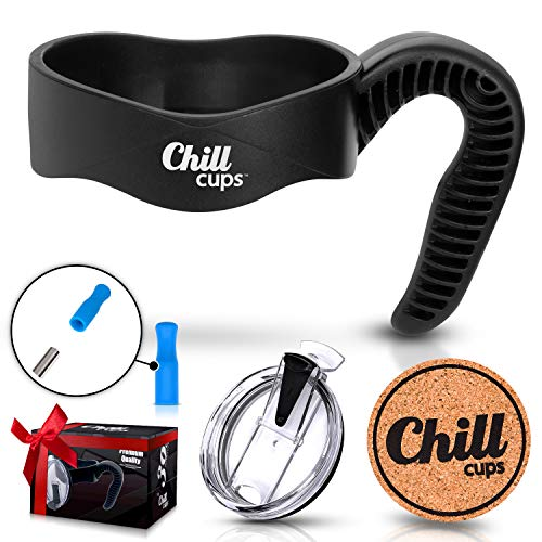 Handle and Spill Proof Flip Lid Bundle for 30 oz Insulated Drinking Thermal Tumbler Mug - Silicone Tip for 8mm Straw - Bonus Cork Coaster By Chill ()