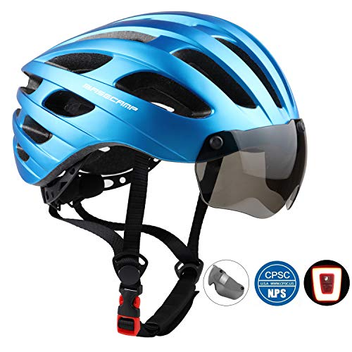 Bike Helmet, Basecamp CPSC Safety Standard Bicycle Helmet with USB Rechargeable LED Light&Magnetic Goggles BMX Helmet Adjustable&Comfortable for Adult Men&Women Cycling/Mountain/Road