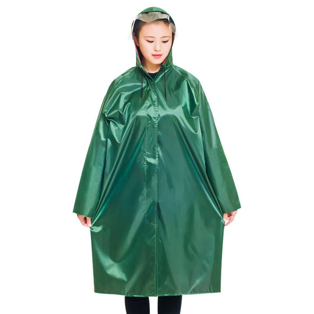 XX-Large Portable Military Green Long Outdoor Hiking Travel Raincoat Thickening Increase Men And Women Labor Insurance Adult Windbreaker Poncho (Size   XXXXL)