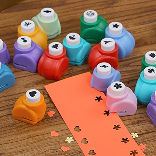 Welecom Paper Punches, Children Hole Puncher for DIY Scrapbooking Cute Multi-Pattern Hand Press Shapes, Set of 10