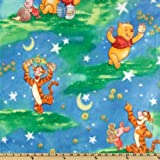 60'' Wide Disney Pooh Starry Night Scenic Fleece Blue Fabric By The Yard