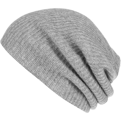White + Warren Women's Cashmere Plush Rib Beanie, Grey Heather, One Size by White + Warren