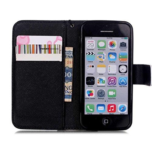 iPhone 5C Coque , Apple iPhone 5C Coque Lifetrut® [ [Don't Touch My Phone] ] [Stand Feature] Colorful Case Mignon PU cuir portefeuille en cuir intégré dans la carte Slots Flip Cover avec dragonne Coqu