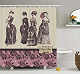 Victorian Decor Shower Curtain Set By Ambesonne, Elegant Ladies Clothes Female Fashion History Dress Handbag Feather Gloves Floral Print, Bathroom Set with Hooks, 75 Inches Long, Beige and Dried Rose