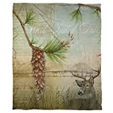 1pc 60 X 80 Lodge Deer Coral Color Fleece Throw Blanket Kids, Luxury Plush Blanket Casual Modern Polyester, Artistic Design Animal Tree Nature Themed Wildlife Green Brown