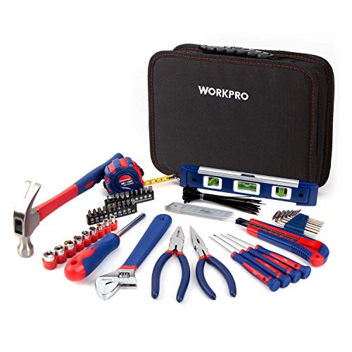 Workpro 100-Piece Kitchen Drawer Home Tool Kit, Home Repair Tool Set with Easy Carrying Pouch