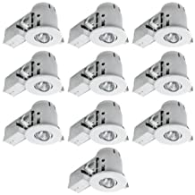 """Globe Electric 4"""" Swivel Spotlight Recessed Lighting Kit Dimmable Downlight, Contractor's (10-Pack), White Finish, Easy Install Push-N-Click Clips, Globe Electric 90540"""
